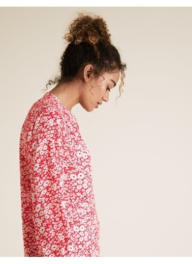 Marks & Spencer Çiçek Desenli V Yaka Bluz Pembe